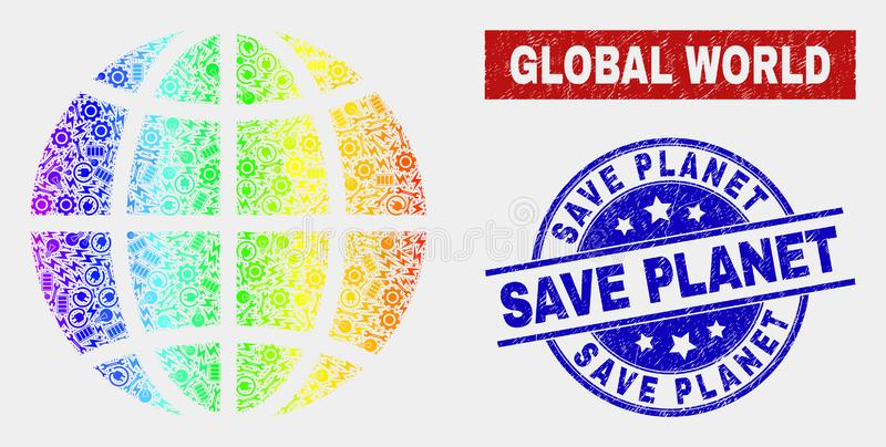 Spectrum Assembly Planet Globe and Scratched Save Planet Stamps. Productivity planet globe and blue Save Planet textured seal stamp. Spectral gradiented vector stock illustration