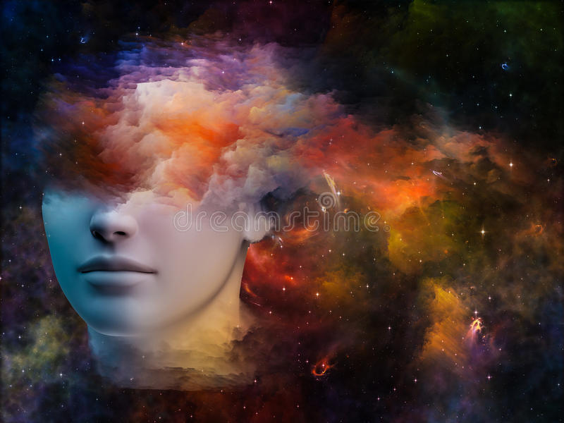 Spectrum of the Mind. Colorful Mind series. Abstract design made of human head and fractal colors on the subject of mind, dreams, thinking, consciousness and royalty free illustration