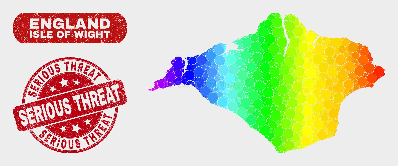 Spectrum Mosaic Isle of Wight Map and Grunge Serious Threat Watermark. Rainbow colored dot Isle of Wight map and seal stamps. Red round Serious Threat scratched royalty free illustration