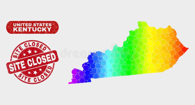 Spectrum Mosaic Kentucky State Map and Scratched Site Closed Watermark. Rainbow colored dotted Kentucky State map and seal stamps. Red round Site Closed textured royalty free illustration