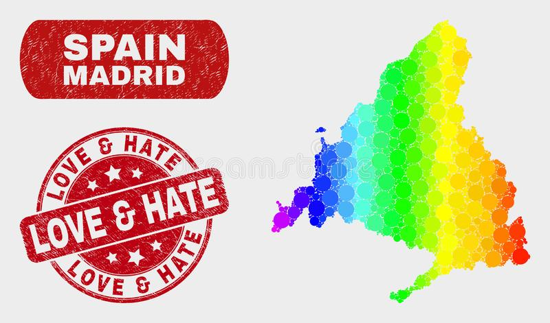 Spectrum Mosaic Madrid Province Map and Grunge Love and Hate Stamp Seal. Spectrum dotted Madrid Province map and stamps. Red round Love and Hate distress seal royalty free illustration