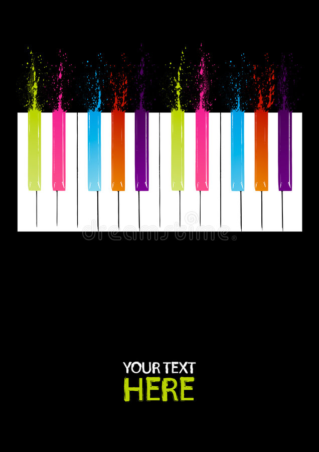 Spectrum piano keys. With copy space vector illustration