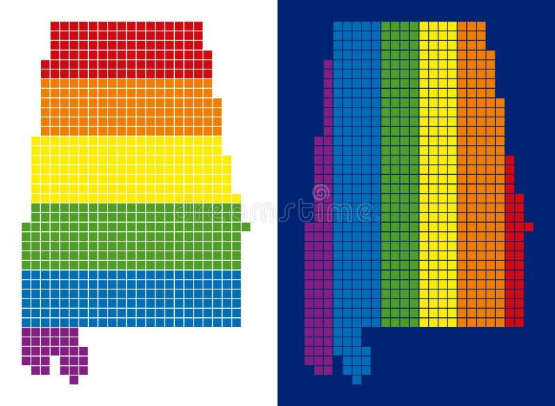 Spectrum Pixel Dotted Alabama State Map stock illustration