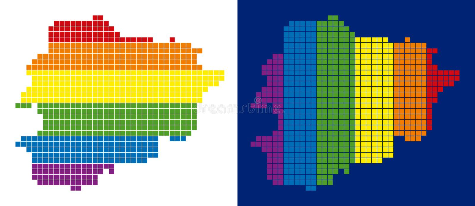 Spectrum Pixel Dotted Andorra Map. Dot LGBT Andorra map versions. Vector geographic maps in spectrum colors with vertical and horizontal directions on white and vector illustration