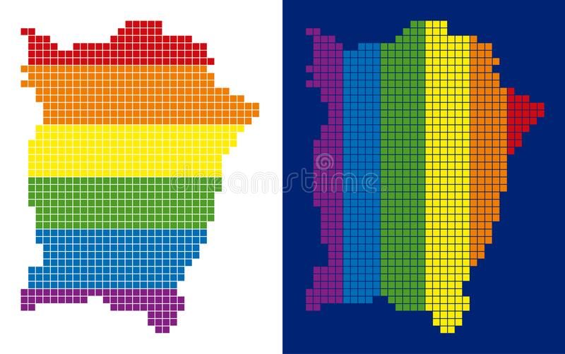 Spectrum Pixel Dotted Penang Island Map. Dotted LGBT Penang Island map variants. Vector geographic plans in rainbow colors with vertical and horizontal stock illustration