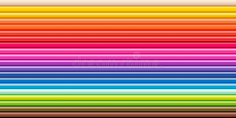 Spectrum rainbow colored pencils row Drawing tool royalty free stock photography