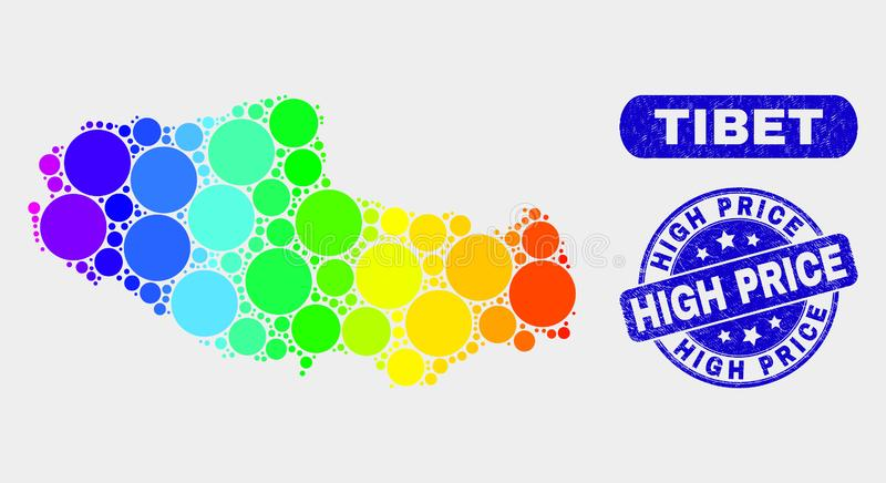 Spectral Mosaic Tibet Map and Distress High Price Watermark. Spectrum spotted Tibet map and rubber prints. Blue round High Price distress seal stamp. Gradient stock illustration