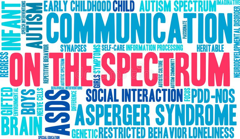 On The Spectrum Word Cloud. On a white background vector illustration