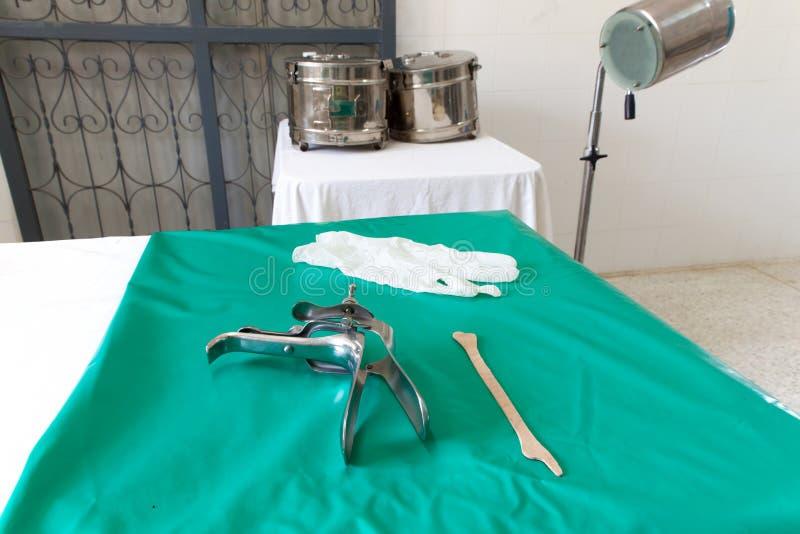 Speculum och spatel för utrustning vaginal royaltyfri bild