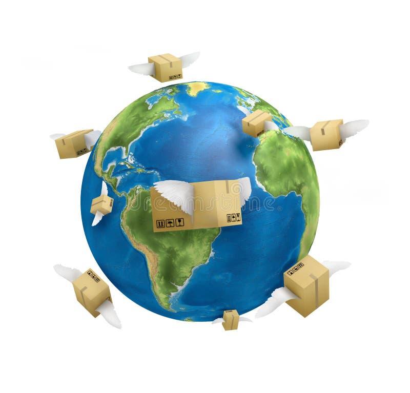 Spedendo universalmente, pianeta, contenitori di posta con krill, illustrazione vettoriale