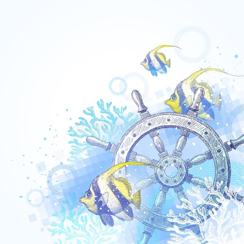 Spedica il volante, i coralli ed i pesci tropicali royalty illustrazione gratis