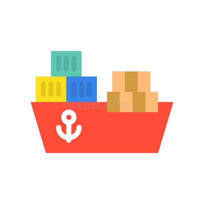 Spedisca i contenitori del contenitore e di nave, il trasporto e l'icona logistica nella f royalty illustrazione gratis