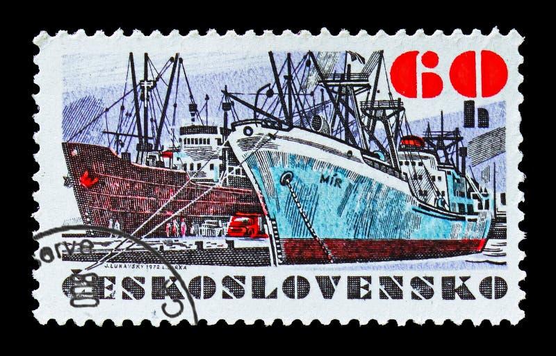 Spedisca il MIR, serie cecoslovacco delle navi, circa 1972 fotografie stock