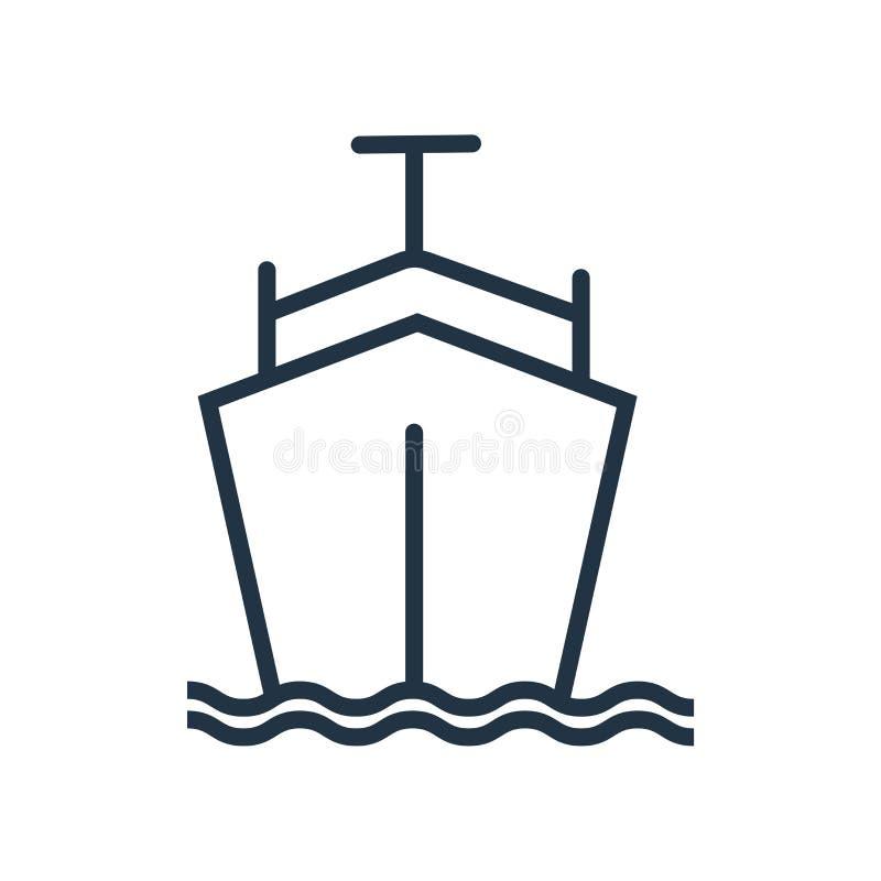 Spedisca il vettore dell'icona isolato su fondo bianco, segno della nave illustrazione vettoriale