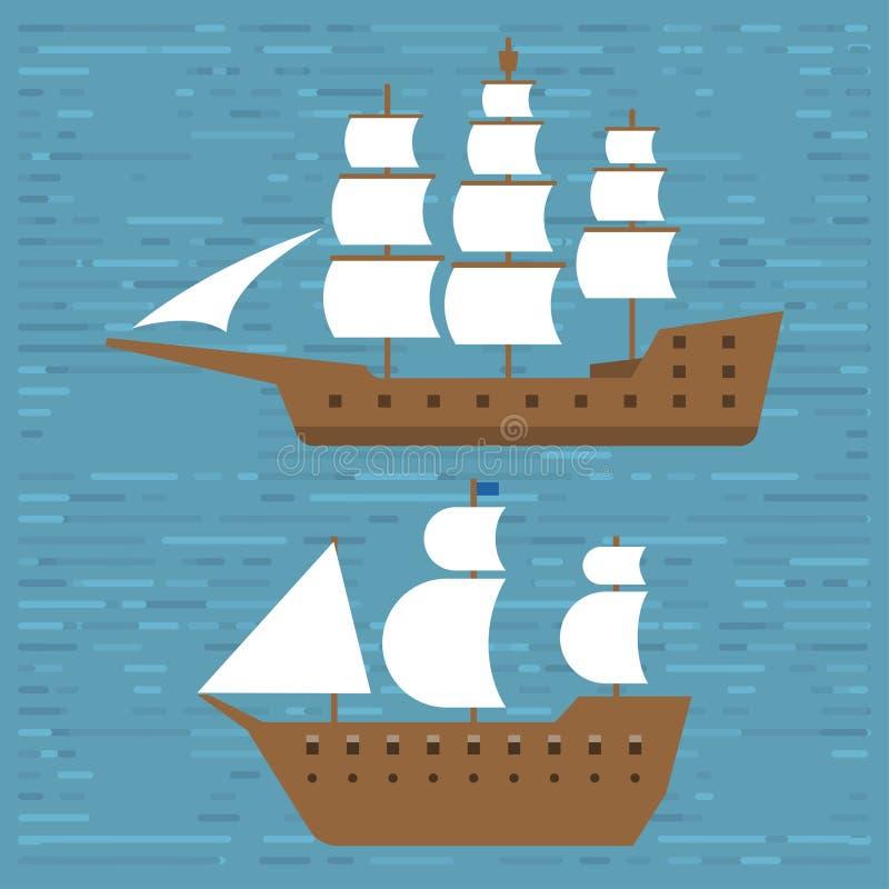 Spedisca la crociera delle barche a vela di vettore dell'industria di viaggio dell'imbarcazione di simbolo della fregata del mare royalty illustrazione gratis