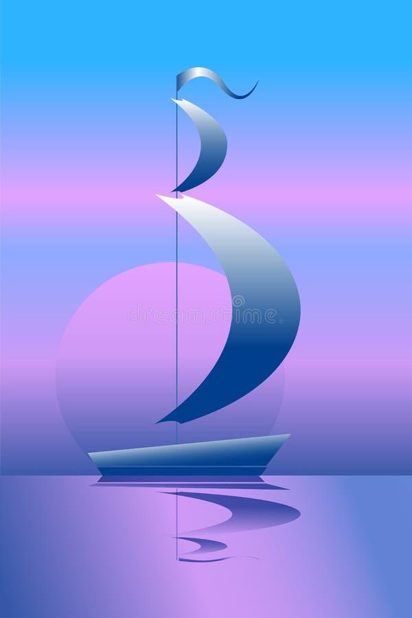 Spedisca sul mare nella nave di navigazione dell'illustrazione di /vector barca a vela/di luce della luna sul tramonto illustrazione di stock