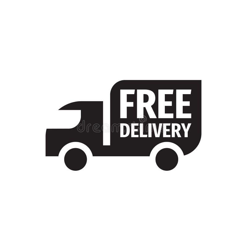 Spedizione di consegna gratuita - progettazione nera di vettore dell'icona Segno del camion di trasporto illustrazione di stock