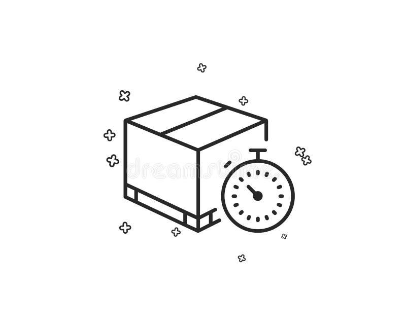Spedizione seguendo linea icona Temporizzatore di consegna Vettore illustrazione vettoriale