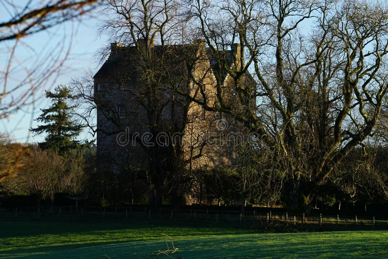 Spedlins Tower. Is a strong fortress on the south bank of the River Annan in the county of Dumfriesshire now called Dumfries and Galloway, south west Scotland royalty free stock photo