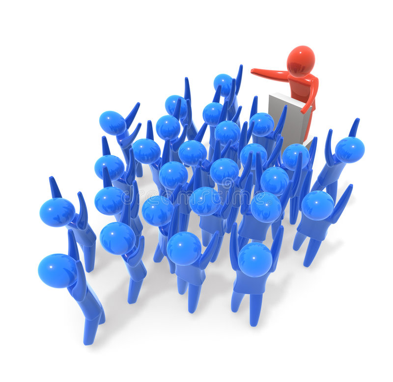 Speech. Crowd cheering at the leader during his speech royalty free stock photo