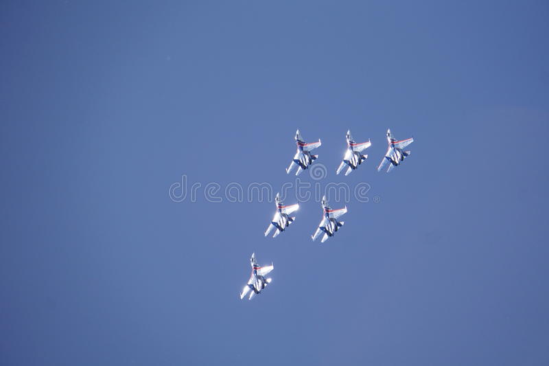 Speech avagruppy at airshow. Performance Air Group, modern fighter stock photo