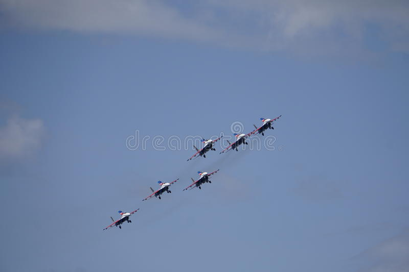 Speech avagruppy at airshow. Performance Air Group, modern fighter stock images