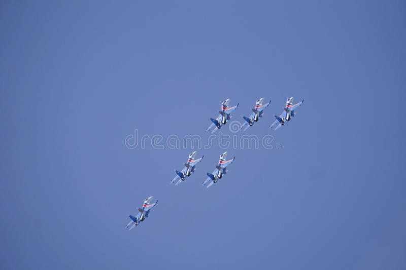 Speech avagruppy at airshow. Performance Air Group, modern fighter royalty free stock images