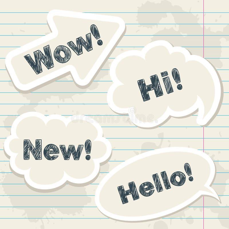Download Speech Balloons On Notebook Grunge Sheet Stock Vector - Image: 23288099