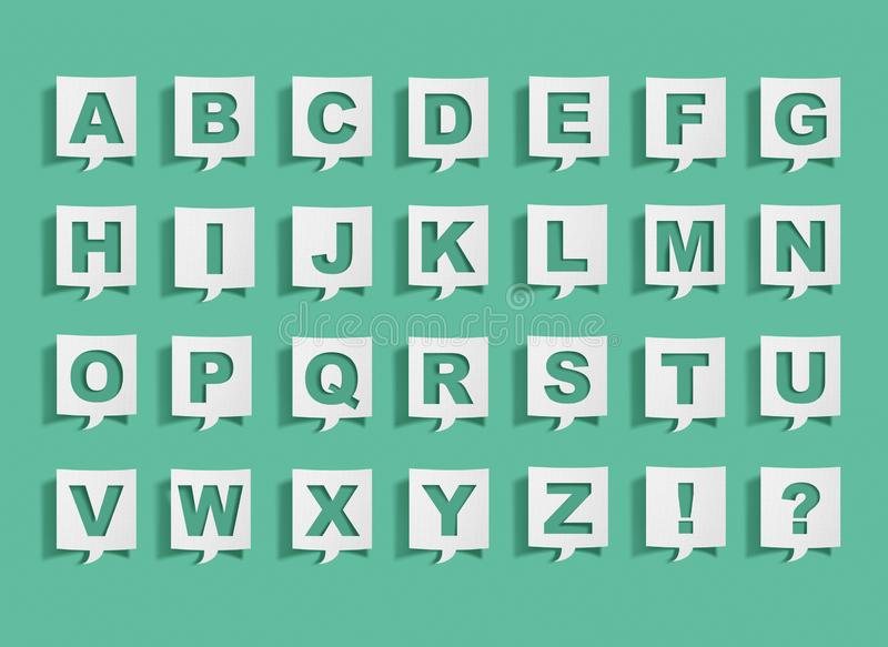 Speech bubble with alphabet letters. On green royalty free stock photos
