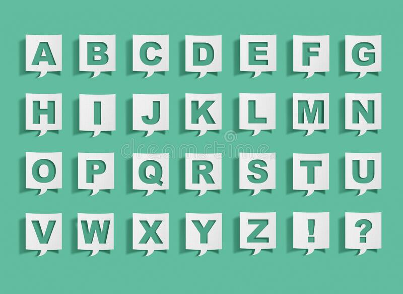 Speech bubble with alphabet letters. On green royalty free stock photo