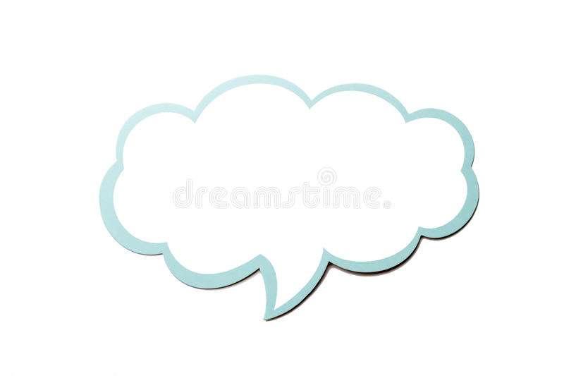 Speech bubble as a cloud with blue border isolated on white background. Copy space royalty free illustration
