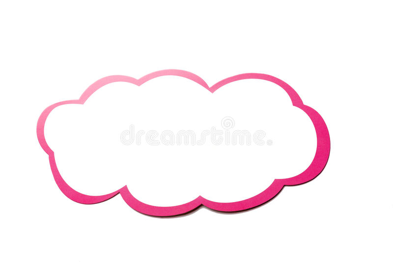 Speech bubble as a cloud with pink border isolated on white background. Copy space vector illustration