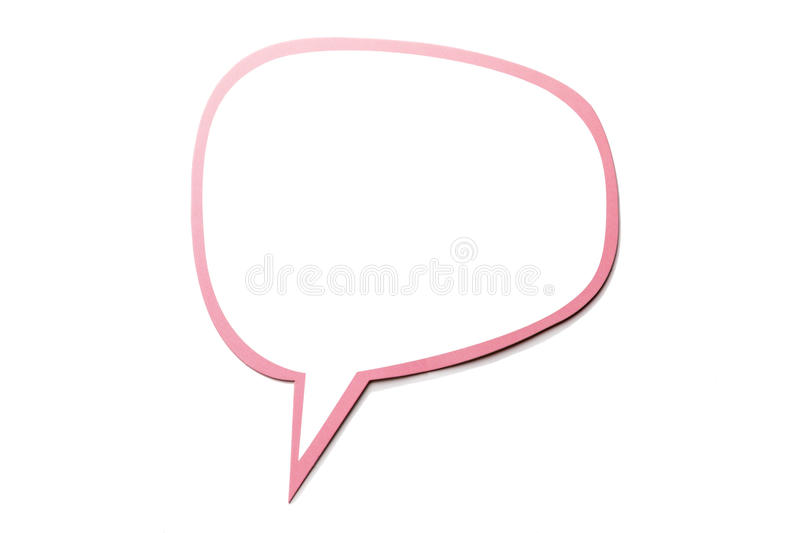 Speech bubble as a cloud with pink border isolated on white background. Copy space. Colorful speech bubble as a cloud with pink border isolated on empty white stock illustration