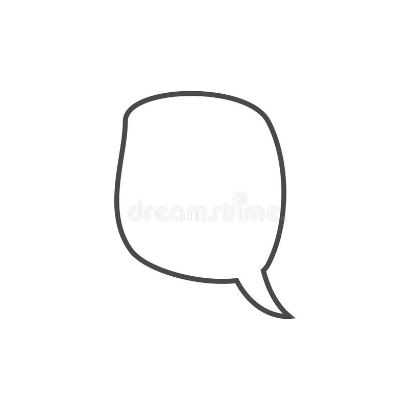 Speech bubble, speech balloon, chat bubble line art vector icon for apps and websites. Design, symbol, illustration, talk, speak, shape, communication, comic royalty free stock image
