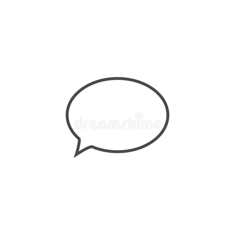 Speech bubble, speech balloon, chat bubble line art vector icon for apps and websites. Design, symbol, illustration, talk, speak, shape, communication, comic royalty free illustration