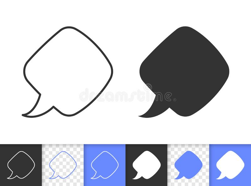 Speech Bubble simple black line banner vector icon royalty free illustration