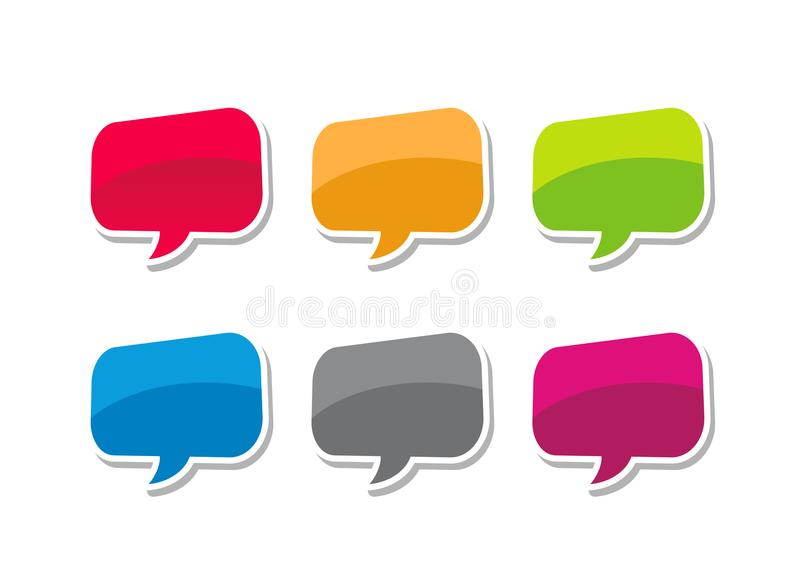 Speech bubble, colorfull bubble text vector illustration set royalty free illustration