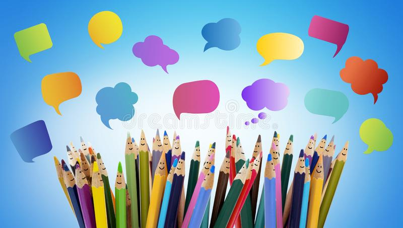 Speech bubble. Crowd Talking. Colored pencils funny faces of people smiling. Dialogue group of people. Group of people talking. So royalty free stock image