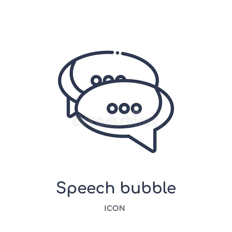 speech bubble with ellipsis icon from shapes outline collection. Thin line speech bubble with ellipsis icon isolated on white stock illustration