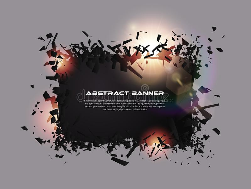 Speech bubble, exploding effect. Abstract explosion black pieces with lens flare. Explosive destruction. Particles on dark banner royalty free illustration