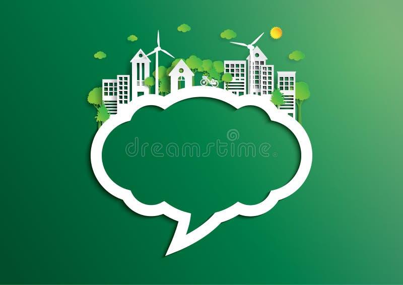 Speech bubble of green city of environment concept paper art sty vector illustration