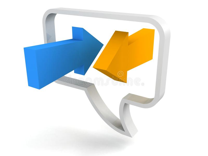 Speech Bubble Icon With Blue And Orange Arrows Stock Photography