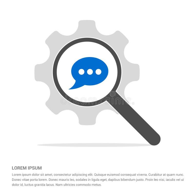 Speech bubble icon Search Glass with Gear Symbol Icon template vector illustration