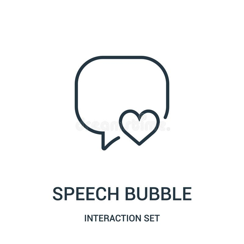 Speech bubble icon vector from interaction set collection. Thin line speech bubble outline icon vector illustration. Linear symbol for use on web and mobile royalty free illustration