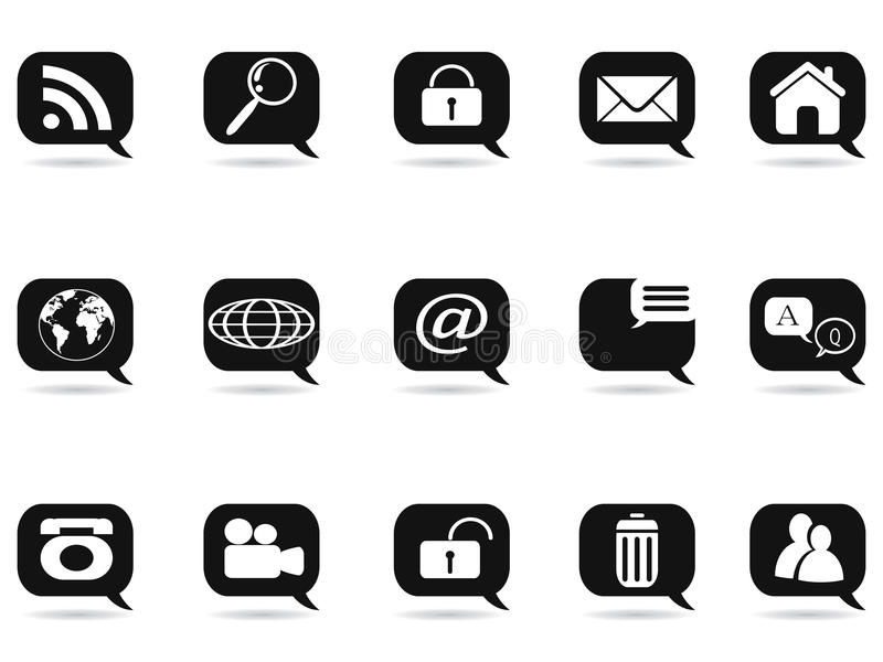 Speech bubble with internet icons royalty free illustration