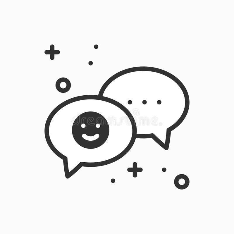Speech bubble line icon. Conversation chat dialog message question. Thin linear party basic element. Vector simple royalty free illustration