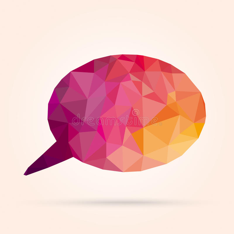 Speech Bubble Low Poly. Low poly colored speech bubble on the bright background stock illustration
