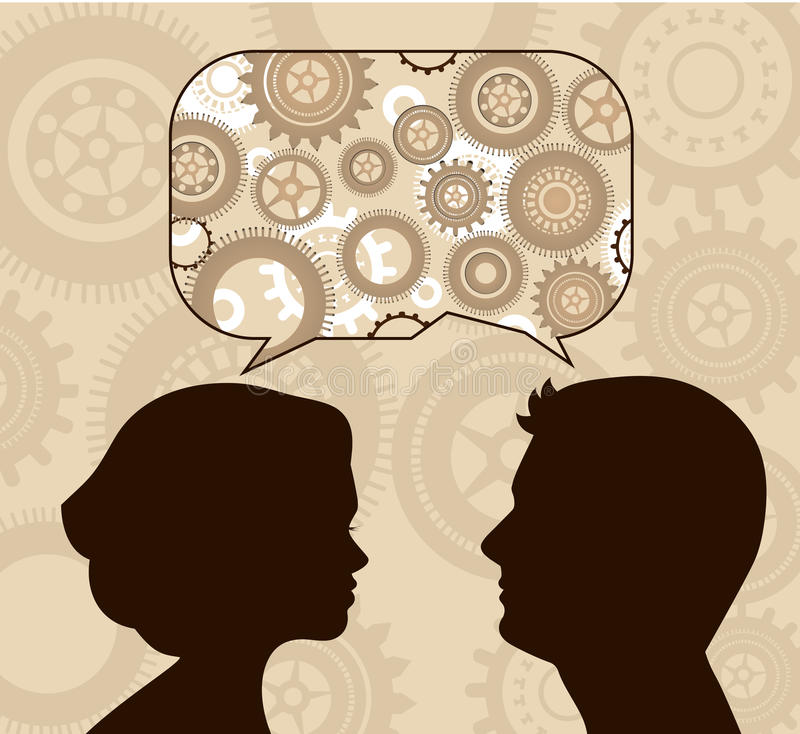 Speech bubble with male and female profiles vector illustration