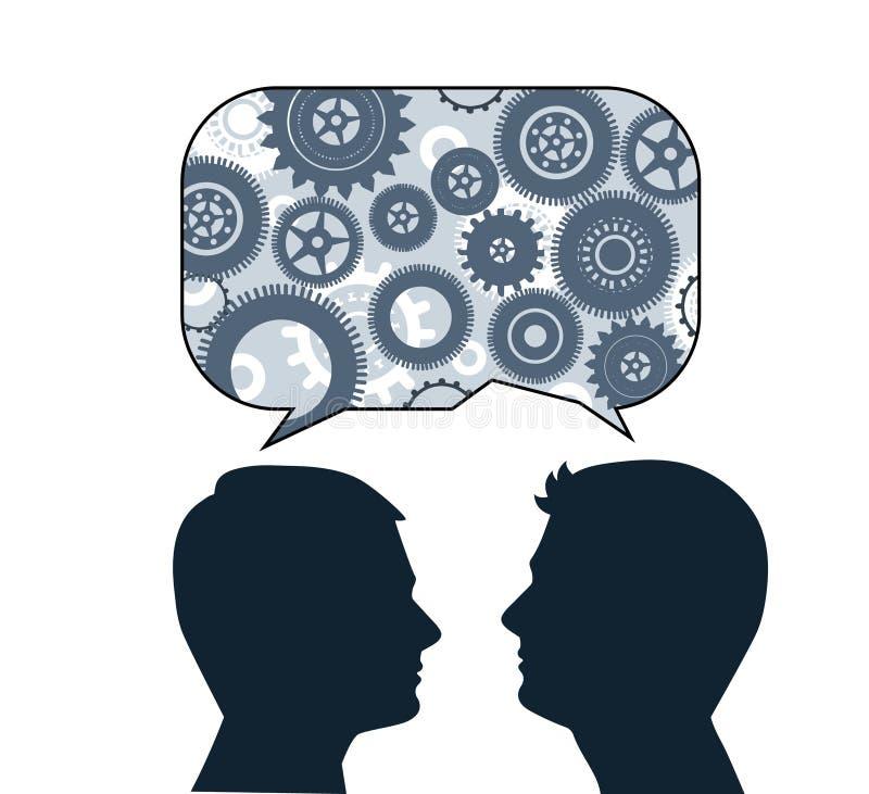 Speech bubble with male profiles. Idea, creativity, communication, teamwork, brainstorming concept stock illustration