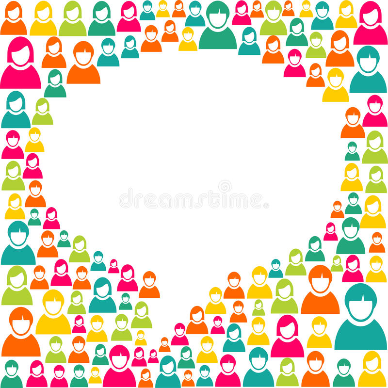 Speech bubble marketing campaign. White social speech bubble shape over diversity people crowd background. Vector file layered for easy manipulation and custom stock illustration